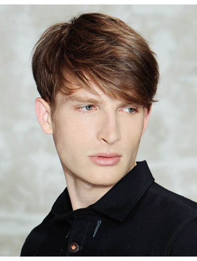Mens Capless Short Remy Human Hair Straight Wig