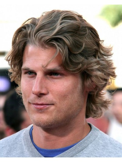 Mens Lace Front Short Synthetic Hair Wavy Wig