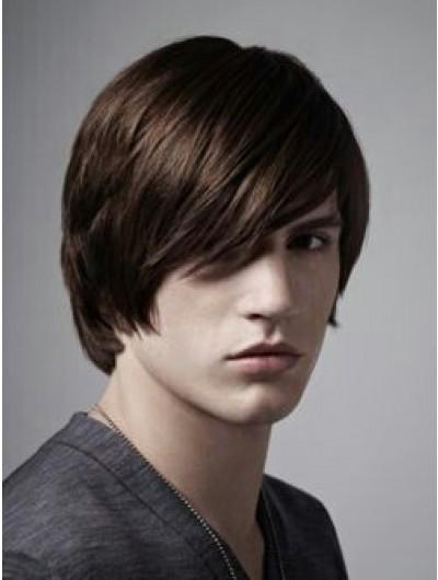 Capless Short Remy Human Hair Straight Mens Wig