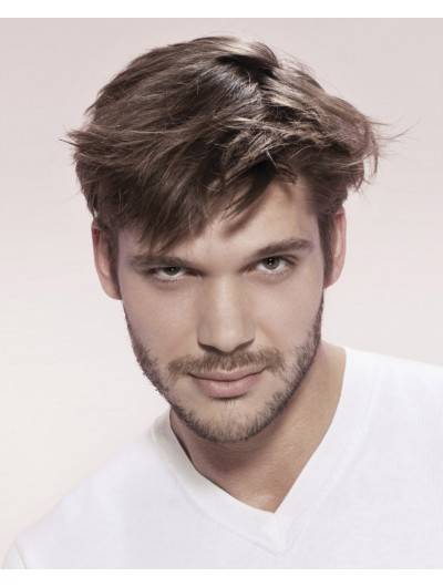 Capless Short Synthetic Hair Straight Mens Wig