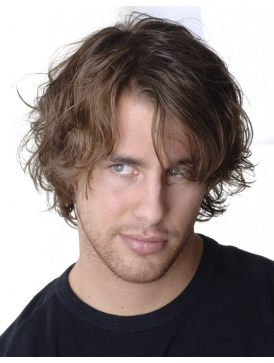 Mens Lace Front Short Remy Human Hair Wavy Wig
