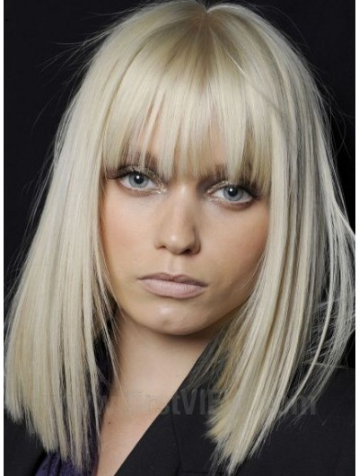 Synthetic Hair Capless Long Straight With Bangs Wig