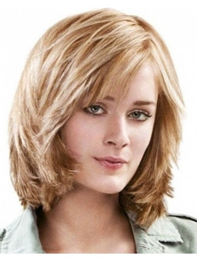 Synthetic Hair Lace Front Medium Straight With Bangs Wig