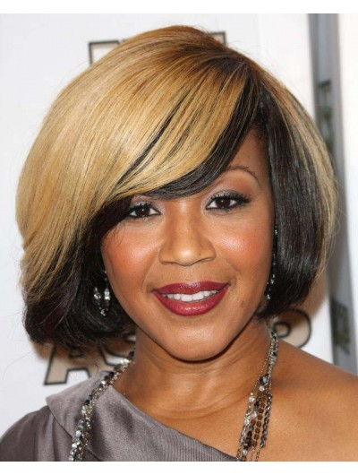 Synthetic Capless Short Wavy With Bangs Brown Wig