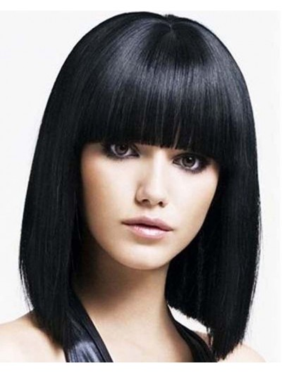 Synthetic Capless Medium Straight Wig With Bangs
