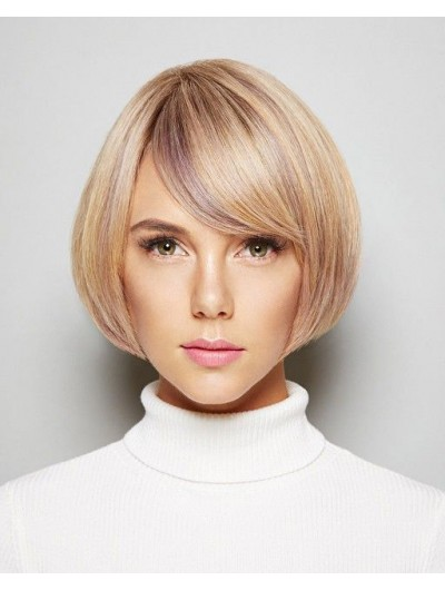 Synthetic Hair Capless Short Straight Bobs Blonde Wig