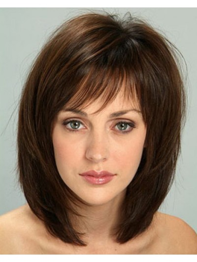 Remy Human Hair Capless Medium Straight Bobs Wig