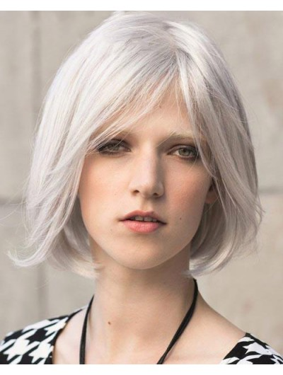 Synthetic Hair Capless Short Bobs Grey Wig
