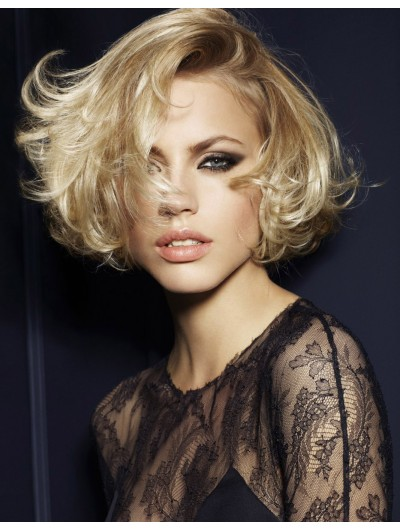 Synthetic Hair Full Lace Short Wavy Bobs Wig