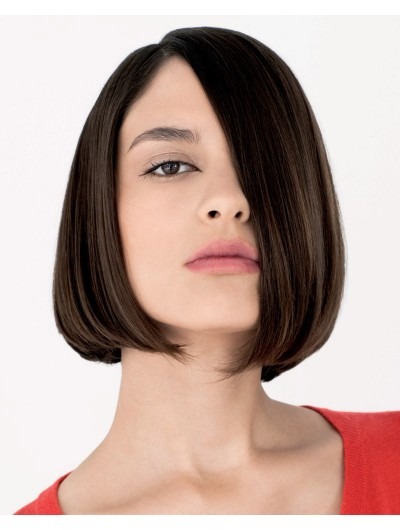 Remy Human Hair Lace Front Short Wig Without Bangs