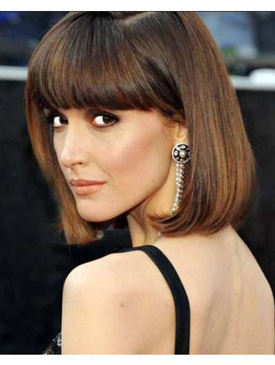 Hairstyle Ideas Chic Bob Hairstyle Wig With Blunt Bangs