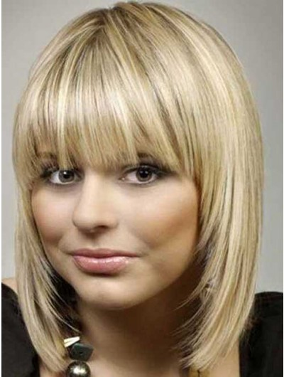 Blonde Bob Hairstyles Wig With Bangs