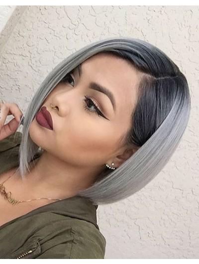 Grey Bob Haircut With Straight Hair Medium Wig