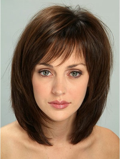 Layered Hairstyles Medium Length Black Hair Wig