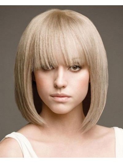 Medium Length Bob Haircuts Wig With Bangs