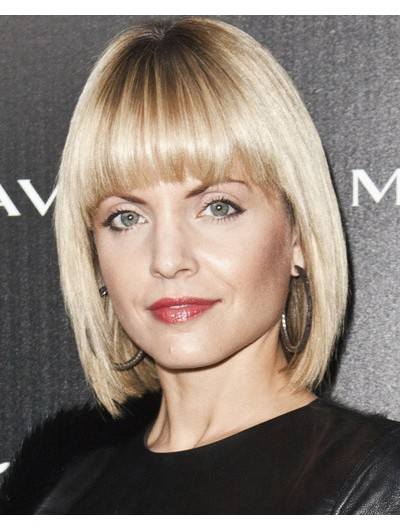 Mena Suvari Short Straight Bangs Chic Edgy Wig