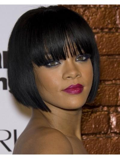 Rihannas Blunt Bob Haircut Wig With Bangs