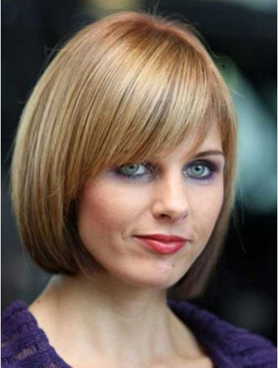 Synthetic Hair Short Bob Wig With Layered Bangs