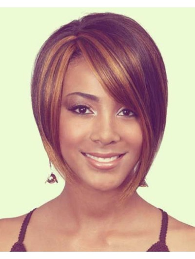 Short Bob Haircut Wig With Side Bangs For Black Women