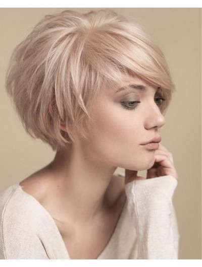Straight Capless Short Synthetic Hair Layered Blonde Wig