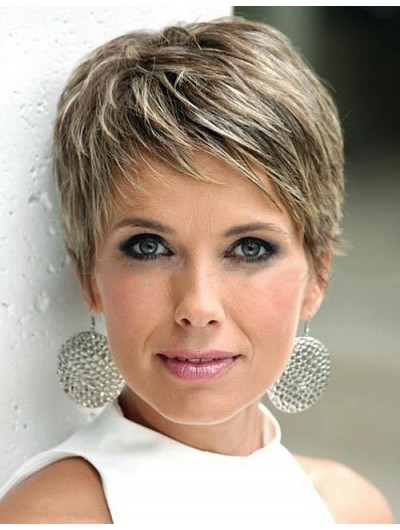 Straight Capless Short Synthetic Hair Boycuts Brown Wig