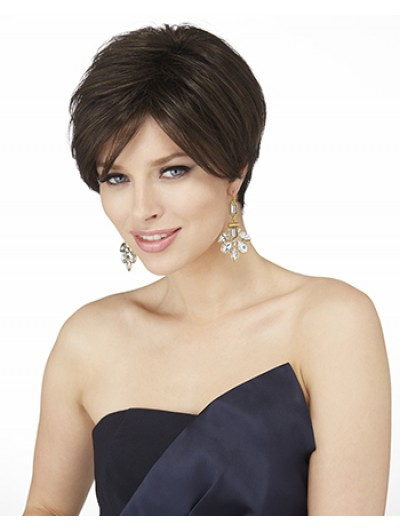 Straight Lace Front Cropped Synthetic Hair Classic Brown Wig