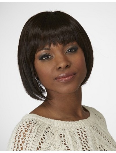 Straight Capless Chin Length Synthetic Hair Bobs Brown Wig
