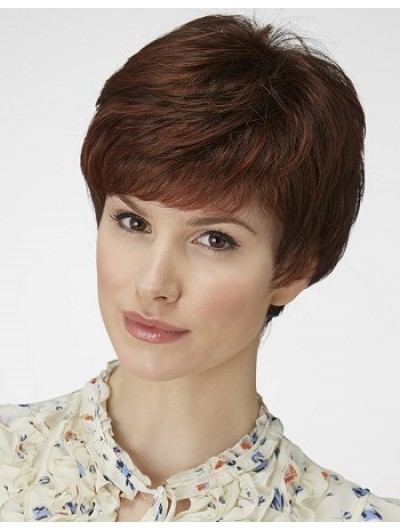Wavy Capless Short Remy Human Hair Boycuts Brown Wig