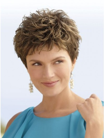 Wavy Capless Short Remy Human Hair Layered Brown Wig