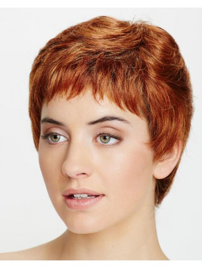 Wavy Capless Short Synthetic Hair Boycuts Auburn Wig