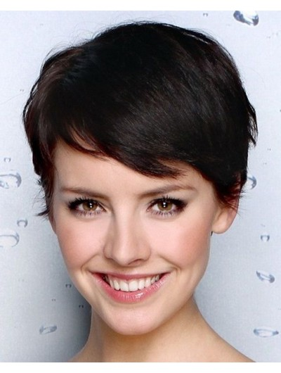 Straight Capless Cropped Remy Human Hair With Bangs Black Wig