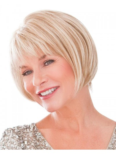 Straight Capless Chin Length Synthetic Hair Bobs Grey Wig