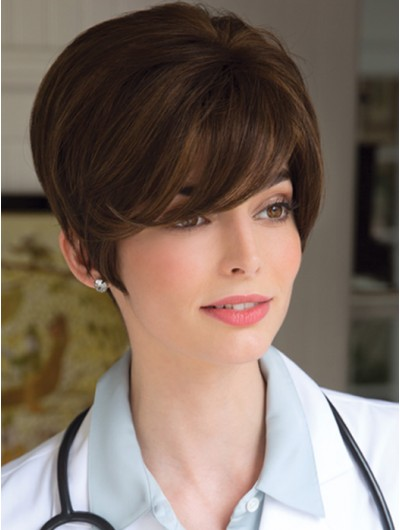 Wavy Capless Cropped Remy Human Hair With Bangs Brown Wig