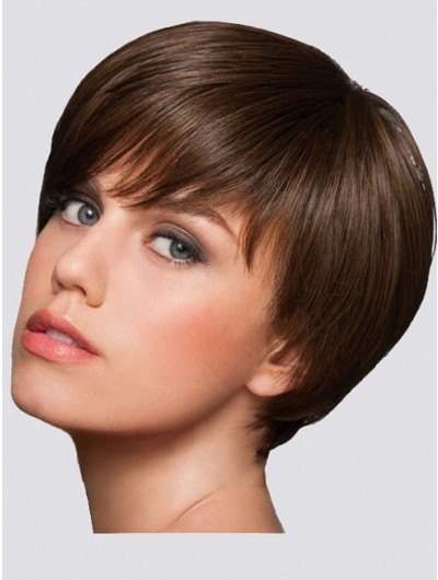 Straight Capless Cropped Remy Human Hair Classic Brown Wig