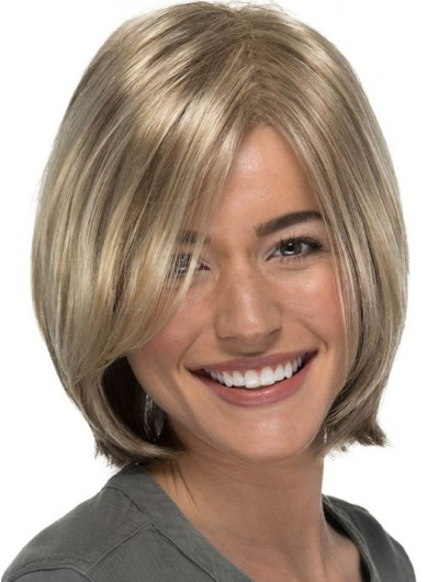 Straight Lace Front Short Synthetic Hair Bobs Grey Wig