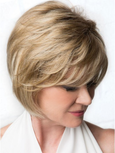Wavy Capless Chin Length Synthetic Hair Bobs Blonde Wig