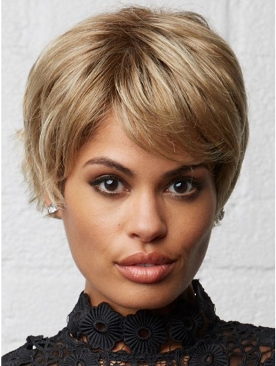 Wavy Capless Cropped Synthetic Hair With Bangs Blonde Wig