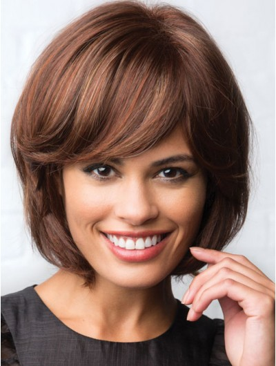 Wavy Capless Short Remy Human Hair Bobs Brown Wig