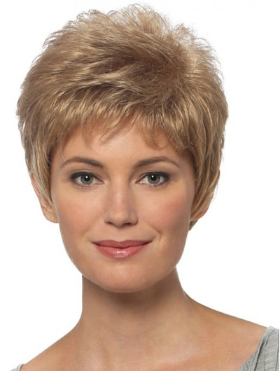 Wavy Capless Short Synthetic Hair Boycuts Blonde Wig
