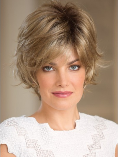 Wavy Capless Cropped Synthetic Hair Layered Blonde Wig