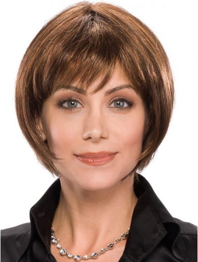 Straight Capless Chin Length Remy Human Hair Bobs Brown Wig