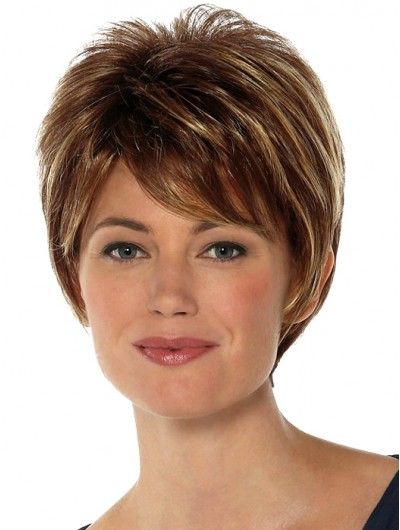 Straight Capless Cropped Synthetic Hair With Bangs Brown Wig