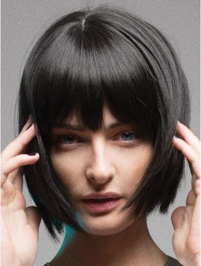 Straight Capless Chin Length Remy Human Hair Bobs Black Wig
