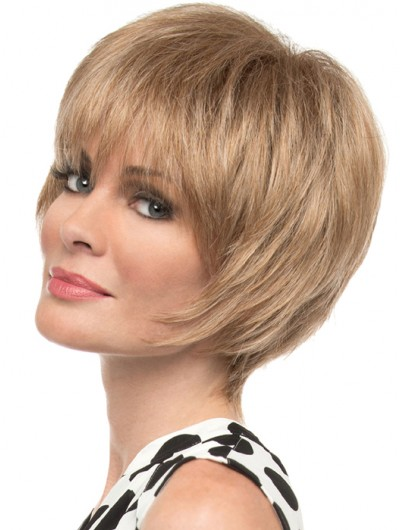 Straight Capless Short Synthetic Hair With Bangs Grey Wig