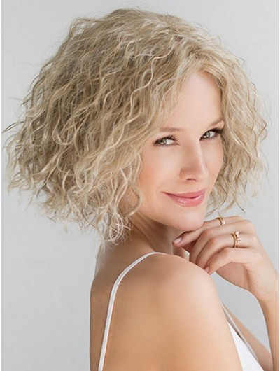 Curly Lace Front Short Synthetic Hair Bobs Grey Wig