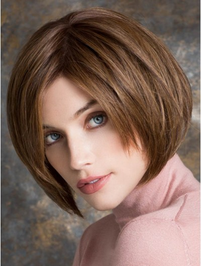 Straight Lace Front Chin Length Remy Human Hair Bobs Brown Wig