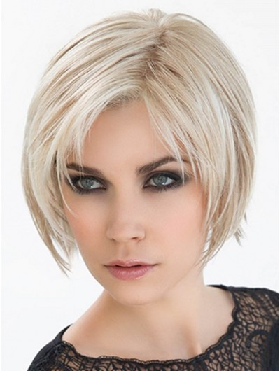 Straight Lace Front Chin Length Synthetic Hair Bobs Grey Wig