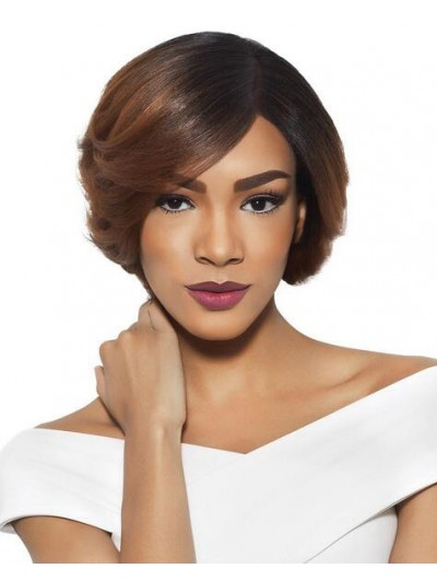 Wavy Lace Front Short Synthetic Hair Bobs Brown Wig