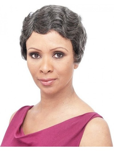 Wavy Capless Short Synthetic Hair Without Bangs Grey Wig
