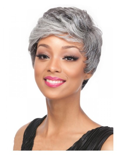 Wavy Capless Short Synthetic Hair Boycuts Grey Wig